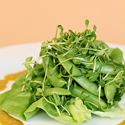 Sugar Snap Peas and Pea Microgreens with Ginger-Curry Vinaigrette