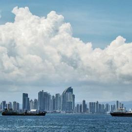 by Ana Cárdenas O - City,  Street & Park  Vistas ( clouds, panama, sky, boats, buildings, sea, city )