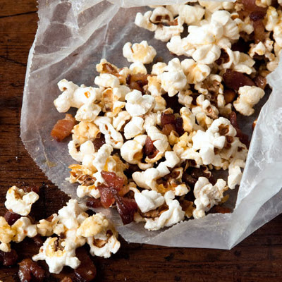 Popcorn with Bacon Fat, Bacon, and Maple Syrup
