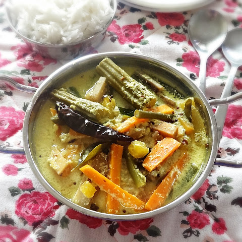 Avial recipe – Mixed vegetables stew with coconut and yogurt