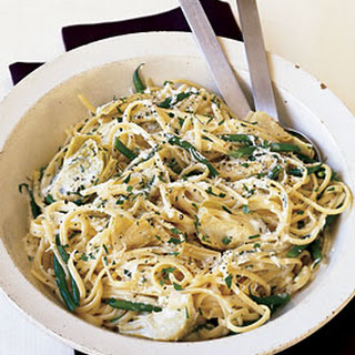 Linguine Avgolemono with Artichoke Hearts and Green Beans