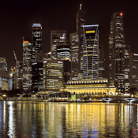 Singapore CBD (Historical - 2009) by Claus Dahm - City,  Street & Park  Skylines ( skyline, fullerton, cbd, night, singapore )