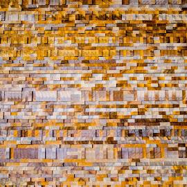 Wooden Wall by Cory Bohnenkamp - Abstract Patterns ( abstract, pattern, wood, gold, wall )