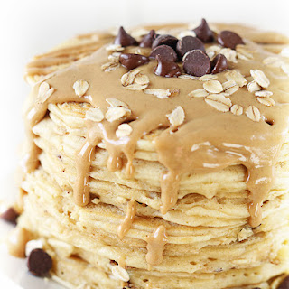 Peanut Butter Oatmeal Chocolate Chip Cookie Pancakes