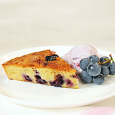 Pistachio Brown-Butter Cake with Concord Grapes
