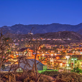 Overlooking Stevenson Ranch by George Cummings - Buildings & Architecture Other Exteriors ( lights, night photography, santa clarita valley, nightscapes, stevenson ranch )