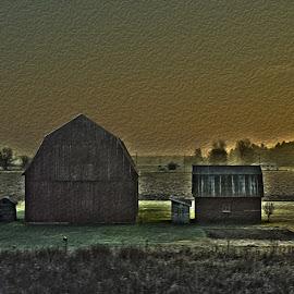 Wavey Fields  by Joshua Richart - Landscapes Prairies, Meadows & Fields ( barn, farms, sunset, barns, fields )
