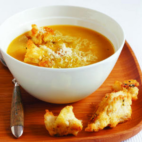 Butternut Squash Soup with Sage and Parmesan Croutons