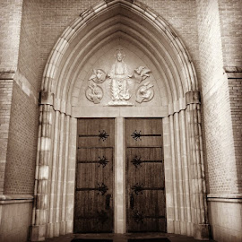 by Lori Broussard - Instagram & Mobile Instagram ( doors, archway, church, Cathedral, saints, alcoholanonymous, canon, detail, architecture, building, bestphoto, myphotography )