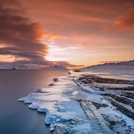The land of fire and ice.. by Gunnlaugur Örn Valsson - Landscapes Travel ( ice orange blue sky clouds lake kleifarvatn sand black beach winter snow,  )