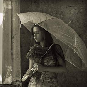 just got broken by Yuni Herawati - Black & White Portraits & People ( mirror, woman, umbrella )