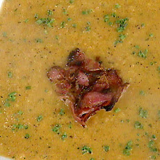 Grilled Tomato and Red Bell Pepper Soup with Grilled Pancetta