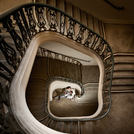 Down Here by Yansen Setiawan - Wedding Other ( creative, losangeles, art, illusion, love, stairs, yansensetiawanphotography, fineart, prewedding, wedding, d800, lifestyle, la, yansensetiawan, bride and groom, nikon, yansen, engagement )