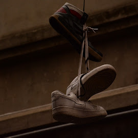 Laced Up by Nimit Rastogi - Artistic Objects Clothing & Accessories ( hanging, shoes, laces, street, shoe )