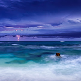 Lightning at Sea by Keith Walmsley - Landscapes Sunsets & Sunrises ( water, clouds, lightning, nature, landscape, rocks )