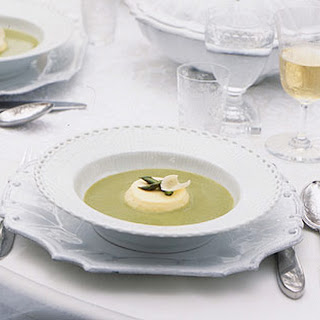 Asparagus Soup with Parmesan Custards