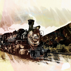 Steam On by Dennis Ducilla - Transportation Trains ( engine, art, art filters, colorado, power, transportation, working, trains )