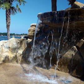 waterfall by Terry Pfeffer - Novices Only Objects & Still Life ( water, waterfall, rock, papas on the lake, conroe )