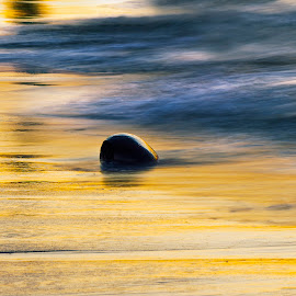 Lone Stone by Kyle Winter Santiago - Novices Only Abstract ( water, sunset, waves, stone, beach )