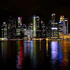 Singapore Night Skyline by Alan Chew - City,  Street & Park  Night (  )