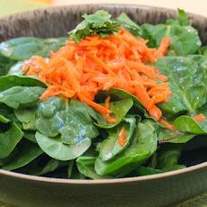 Arugula and Carrot Salad with Cilantro and Maple Ginger Vinaigrette