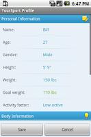 Screenshot of YourSport Lite