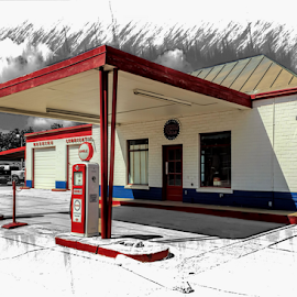 Fill 'er Up by Ann Allison - Buildings & Architecture Other Exteriors ( gas station, esso station, vintage gas station, vintage gas pumps, humle station )