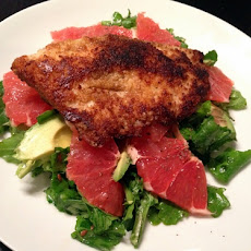 Grapefruit, Avocado, Arugula Salad with Pan Seared Fish