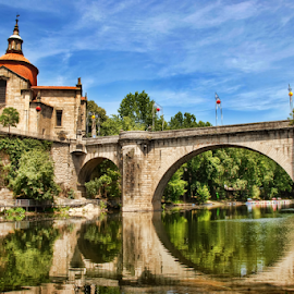 S. Gonçalo de Amarante Bridge by Antonio Amen - City,  Street & Park  Historic Districts ( s. gonçalo, amarante, monatery, trees, castle, bridge, reflex, river )