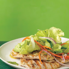 Grilled Chicken Paillards with Mint Salad