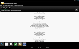 Screenshot of Worship and Praise Lyrics