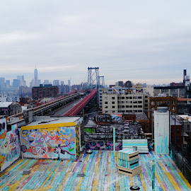 Manhattan From Williamsburg Rooftop by Dayna Whiskeyjack - City,  Street & Park  Skylines ( graffiti, williamsburg, manhattan, rooftop, brooklyn, colorful, mood factory, vibrant, happiness, January, moods, emotions, inspiration )