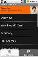Screenshot of Pygmalion: Shmoop Guide