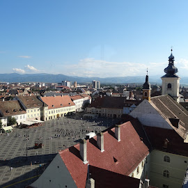 Sibiu - tower view by Mihaela Ciulea - City,  Street & Park  Historic Districts ( houses, tower, city view, roofs, medieval, plaza, city )