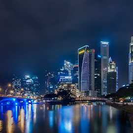 night time in cbd by Lloyd Albert Manto - City,  Street & Park  Skylines ( bluehour, lloydmanto, skyline, lomhanz, urbanscape, natgeo, nationalgeographics, singapore, nightscape )