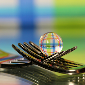 by Dipali S - Artistic Objects Other Objects ( fork, reflection, color, artistic, sphere, stripes, refraction )