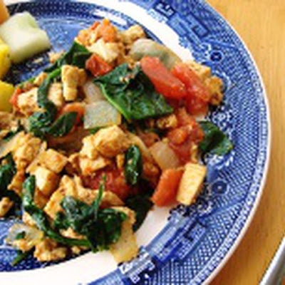 Curried Tofu Scramble with Spinach