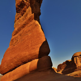 Under the Delicate Arch by David Knowles - Nature Up Close Rock & Stone ( abstract, cool, day moon, moon, unique, arch, canvas, rock, landscape, close up, print, utah, red rock, angled, rock formation, delicate arch )
