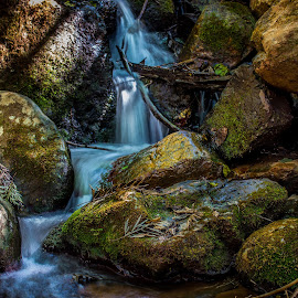 Small stream over rocks by Peet Snyder - Nature Up Close Rock & Stone