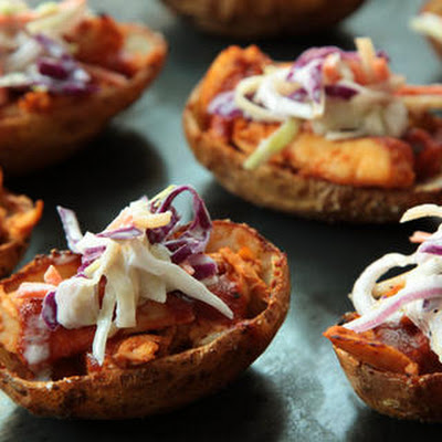 Barbecue Chicken and Coleslaw Potato Skins