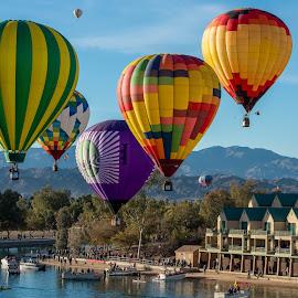 Havasu ballons and  boats by Robert Keas - Transportation Other ( boats, lake havasu, marina, balloons )