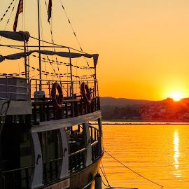 Boat Ionio by Milos Vujinic - Transportation Boats ( nature, sunset, greece, boats, sea )