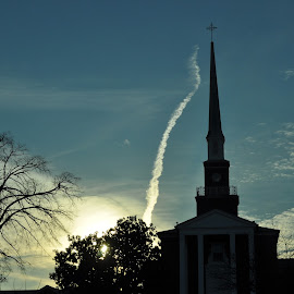 Reaching Up by Susan Bevis - Landscapes Cloud Formations ( clouds, serenity, beauty, worship, cross )