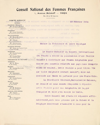 Letter from Ms. Jules Siegfried to Léonie La Fontaine - 1914