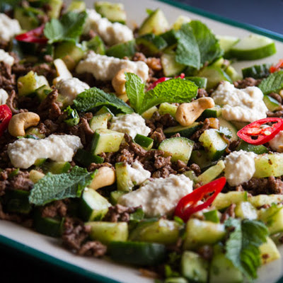 Spicy Beef & Cucumber Salad With Cashew Raita