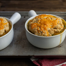 Vegetable Pot Pie with Cracked Black Pepper Biscuit