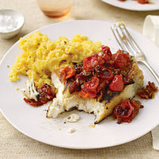 Halibut with Barbecue Tomato Sauce and Honey Mustard Polenta