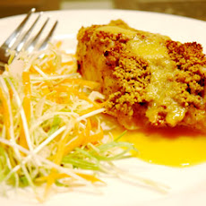 Macadamia-Crusted Sea Bass with Mango Cream Sauce