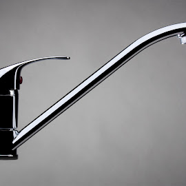 Water tap by Brian Ib Nielsen - Buildings & Architecture Other Interior ( faucet, water, silver, background, supply, grey, tap )