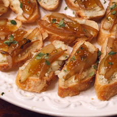 Crostini with Gorgonzola, Caramelized Onions & Fig Jam